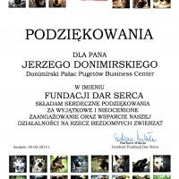 Podziękowanie dla Jerzego Donimirskiego od Fundacji Dar Serca